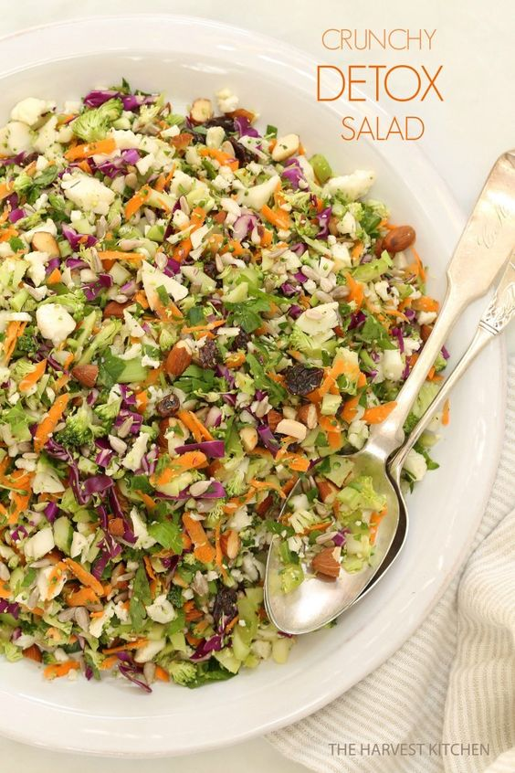 Crunchy Detox Salad.. Ready for some salad love? This is an ultra simple recipe both for the salad and its dressing. It's made