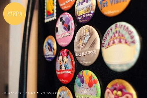 Convert Disney park buttons to refrigerator magnets…uh defintely doing this!!!! disney crafts for adults #disney