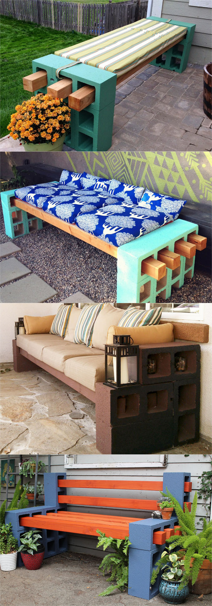 21 beautiful DIY benches for every room. Great tutorials on how to build benches easily out of wood, concrete blocks, or even old