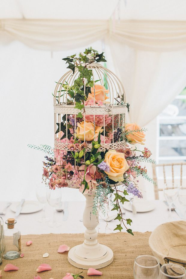 Beautiful Birdcage Wedding Centrepiece – I like this for the cake table