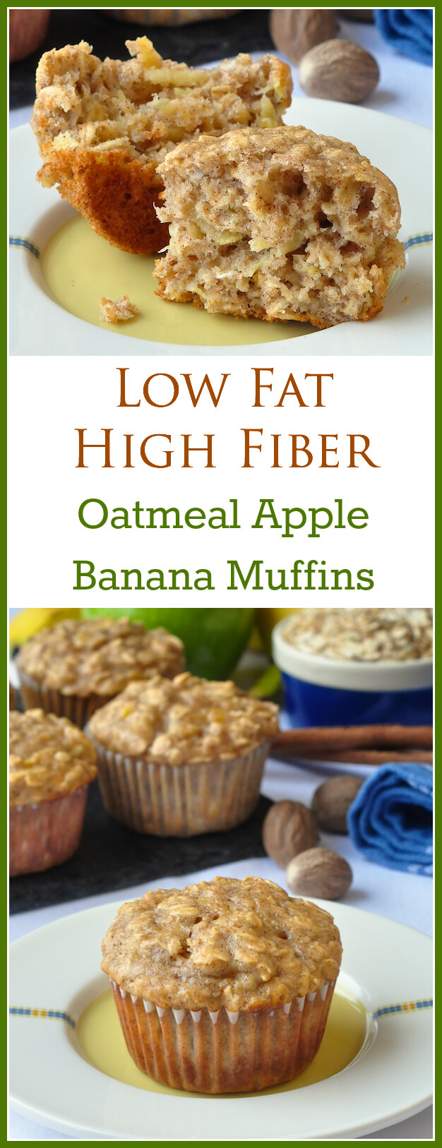 Oatmeal Apple Banana Low fat Muffins – A very easy to make recipe for moist, delicious, wholesome breakfast muffins that use a