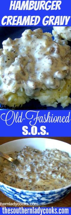 This hamburger creamed gravy or SOS is wonderful over toast, biscuits, rice, pasta, potatoes and grits! I love it over mashed