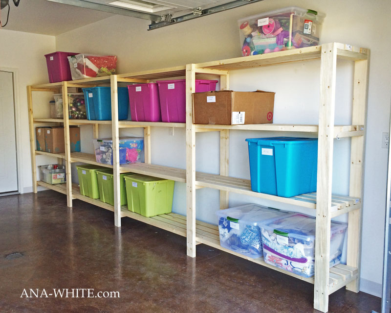Simple wood garage shelves