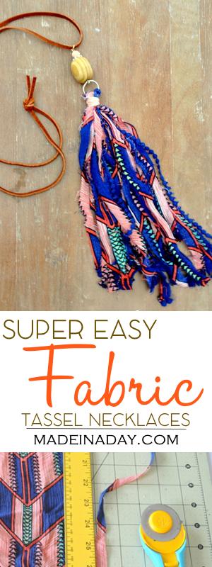 DIY Fabric Tassel Necklaces, fabric & ribbon tassel necklaces, easy jewelry DIY, ribbon tassel, shabby boho tassel, bohemian