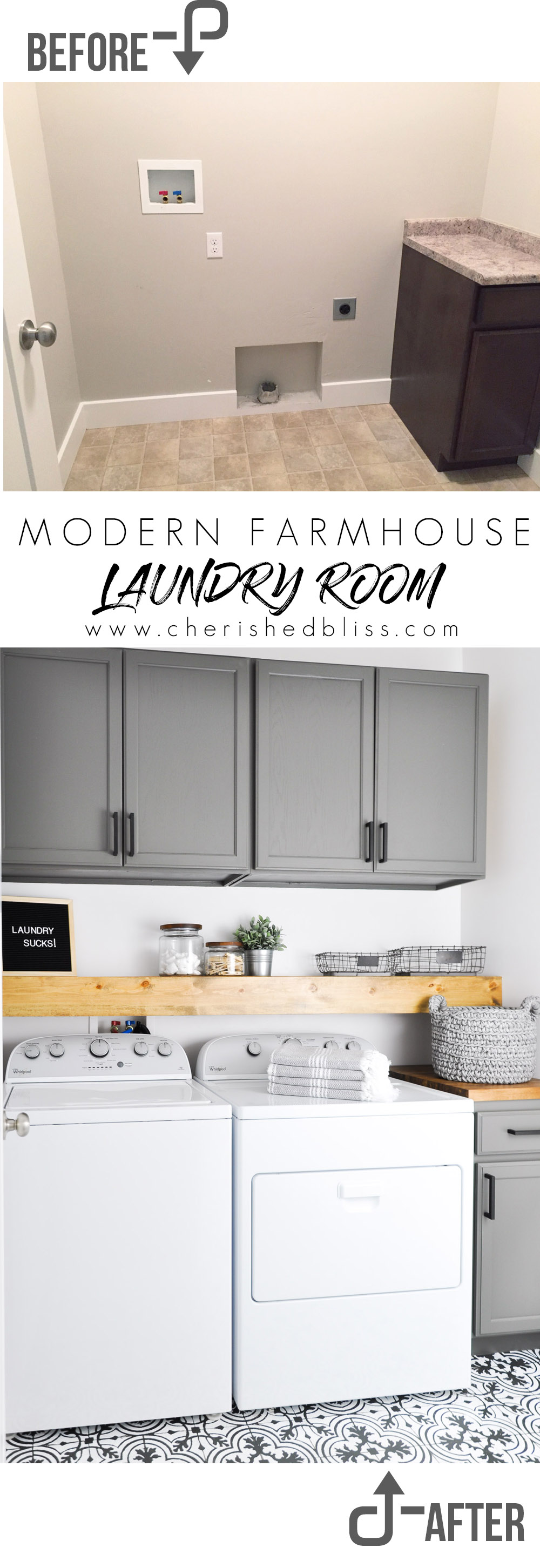 Do laundry in style in this Modern Farmhouse Laundry Room. Come see the transformation from builder grade to gorgeous on a low