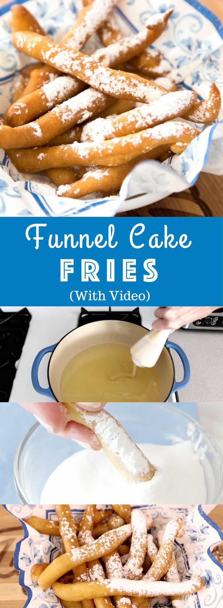 Easy Funnel Cake Fries – delicious cake batter is fried to perfect golden crispy fries. Served with some caramel sauce or a