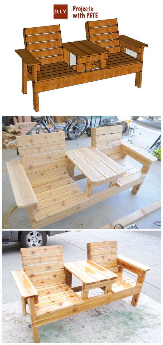 DIY Double Chair Bench with Table Free Plans Instructions – Outdoor Patio #Furniture Ideas Instructions