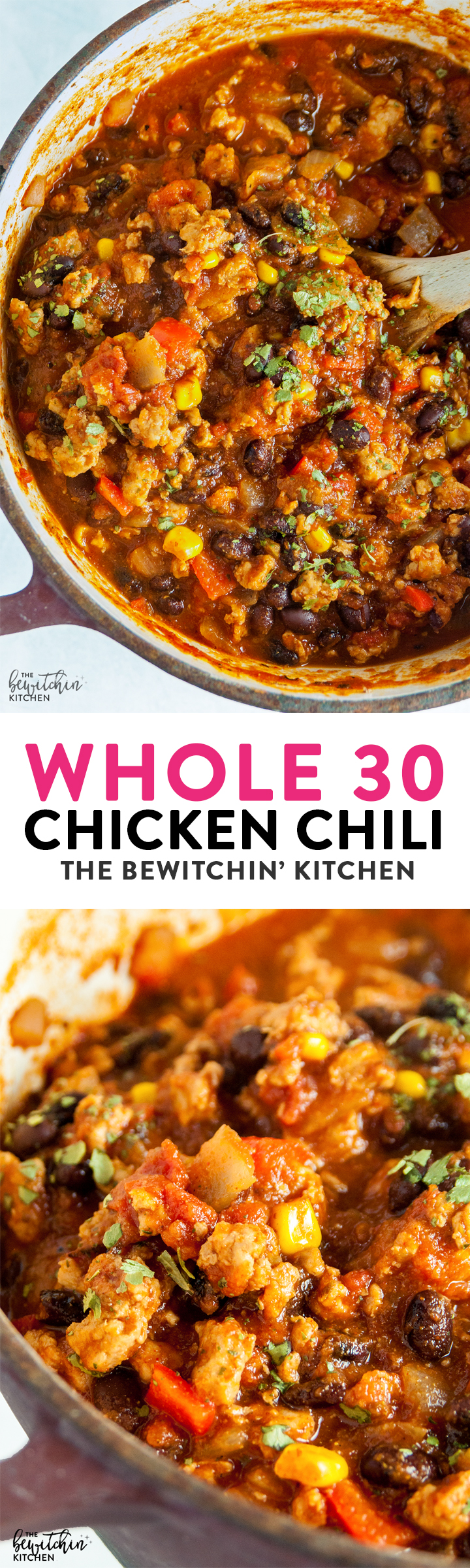 Whole30 Chicken Chili a hearty and healthy chili recipe is lightened up with ground chicken and is whole 30, paleo, and 21 day fix