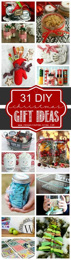 31 creative DIY Christmas Gift Ideas for you this Holiday Season! Round-Up of Homemade Holiday Gifts on Frugal Coupon Living.
