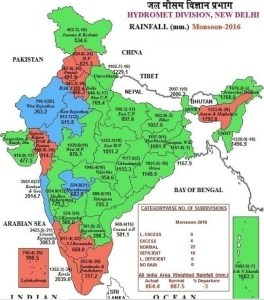 SOURCE: जल मौसम विज्ञान प्रभाग, RAINFALL DISTRIBUTION IN INDIA DURING MONSOON