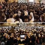 Opt ani, două fotografii