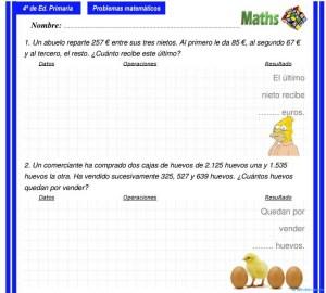 Problemas de matemáticas 4 primaria. - Educación y Consejos - Web ...