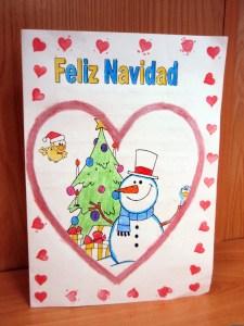Postal navideña para colorear y para imprimir