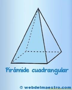 Figuras geometricas tridimensionales primaria: piramide cuadrnagular