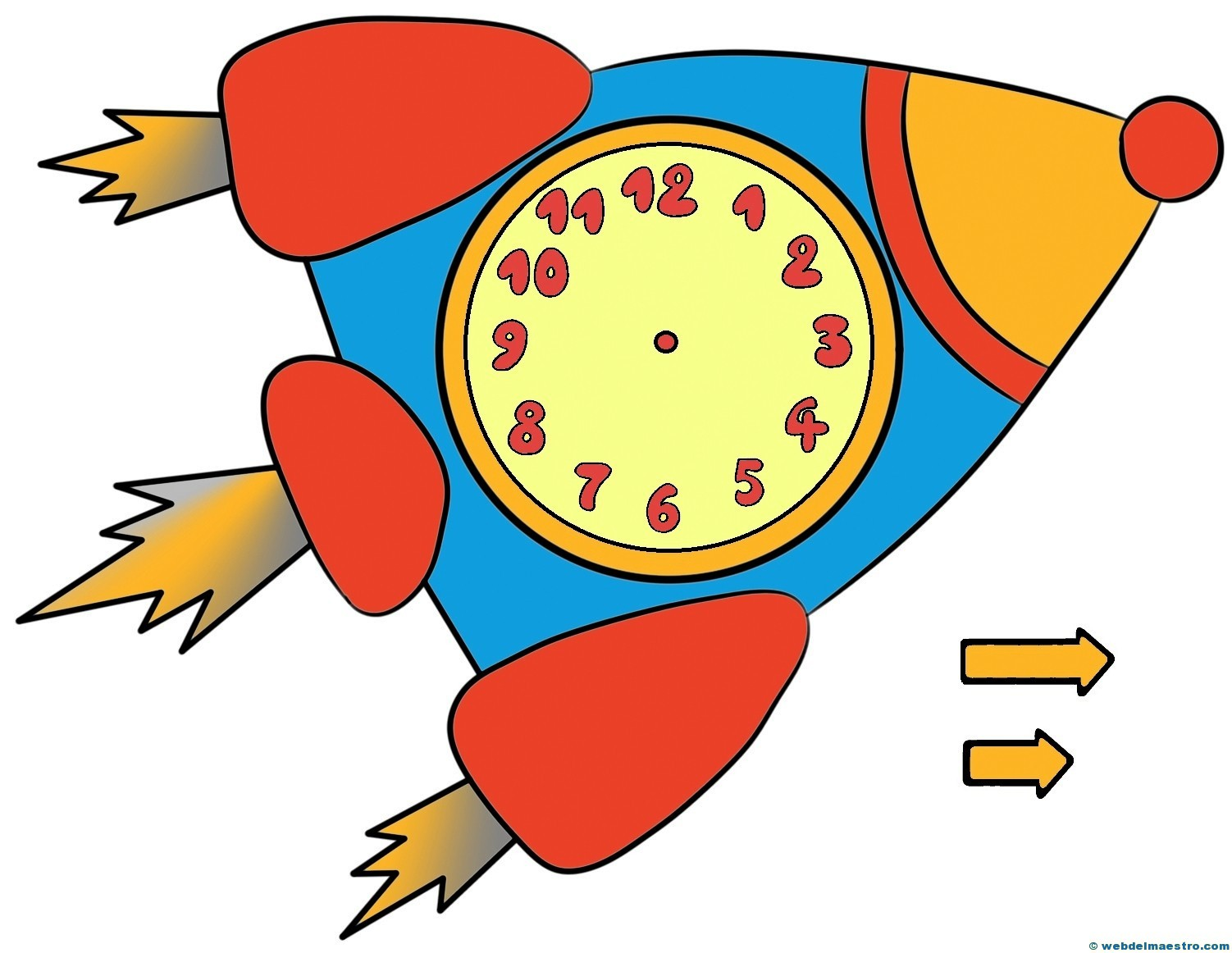 Relojes Para Aprender La Hora-5-color- Web Del Maestro