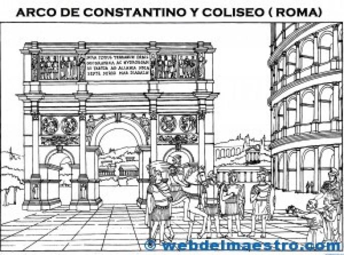 Romanos con Arco de la Victoria y Coliseo