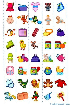 Pictogramas para imprimir de objetos infantiles