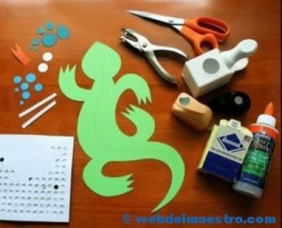Manualidades para niños-LAGARTO-MATERIALES