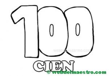 numero 100 para colorear---