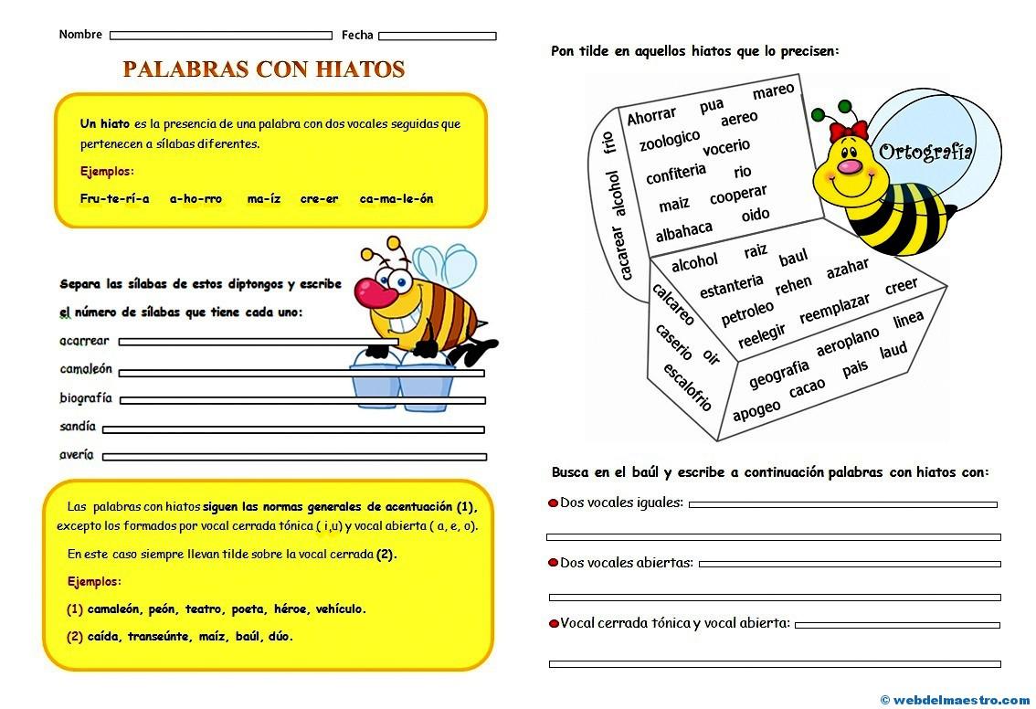 Hiato Ejercicios De Ortografía Web Del Maestro