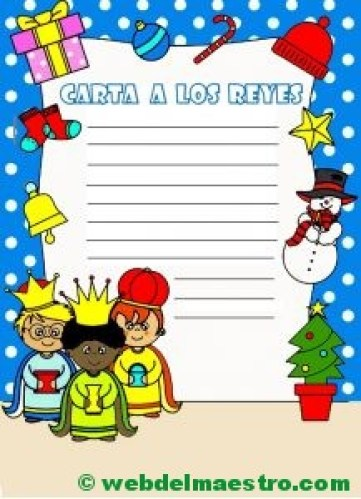 carta para los Reyes magos en color-con pauta simple