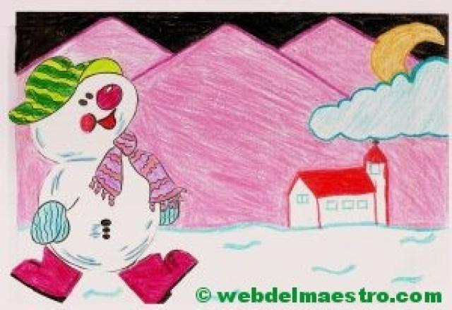 dibujo con muñeco de nieve