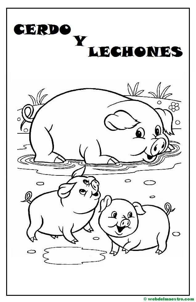 Fantástico Páginas Para Colorear De Cerdos Y Lechones Colección de ...