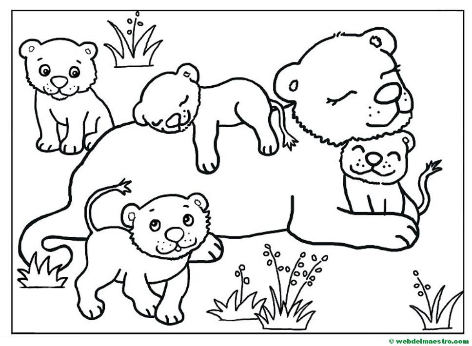 Dibujo De Cachorro De León Para Colorear: Leona Y Sus Cachorros