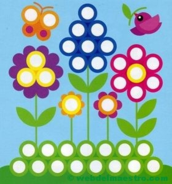 Plantillas para juegos con botones-flores