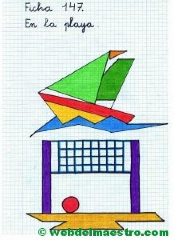 Dibujos en cuadrícula sobre la playa- Ficha 1