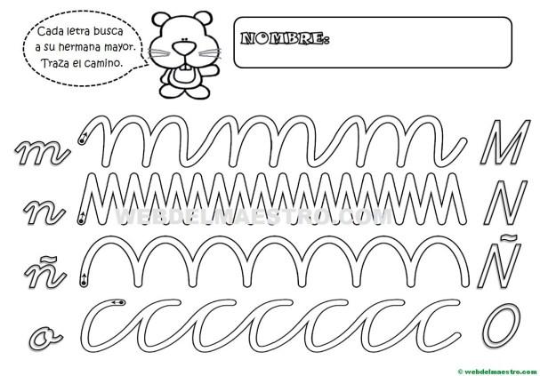 Grafomotricidad-Abecedario infantil-LETRAS M-N-Ñ-O