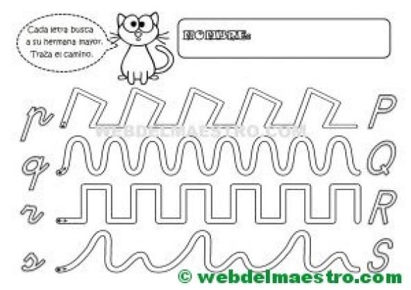 Grafomotricidad-Abecedario infantil-LETRAS P-Q-R-