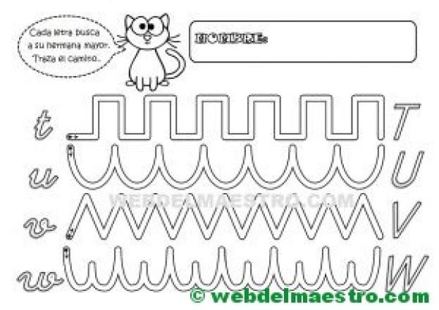 Grafomotricidad-Abecedario infantil-LETRAS T-U-V-W