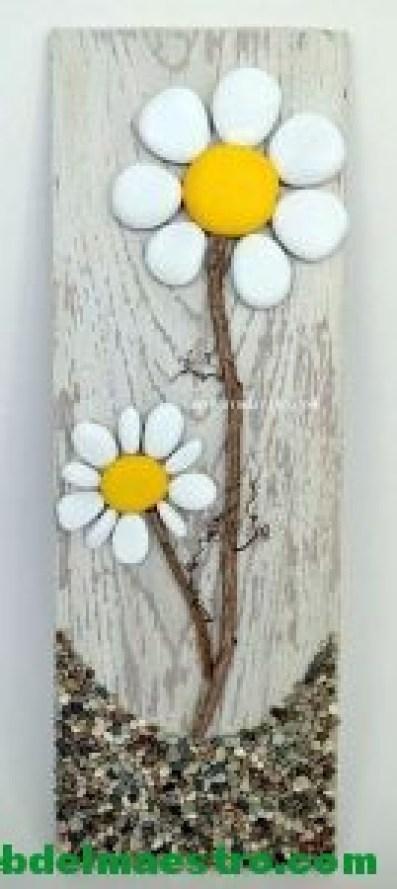 Cuadros hechos con piedras-flores