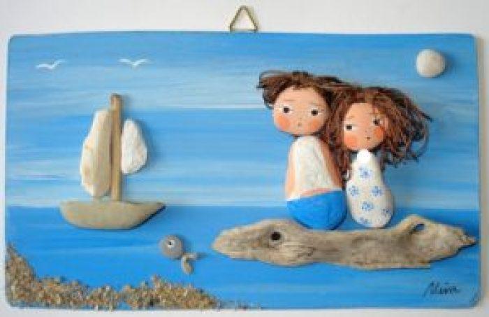 Cuadros hechos con piedras- niños