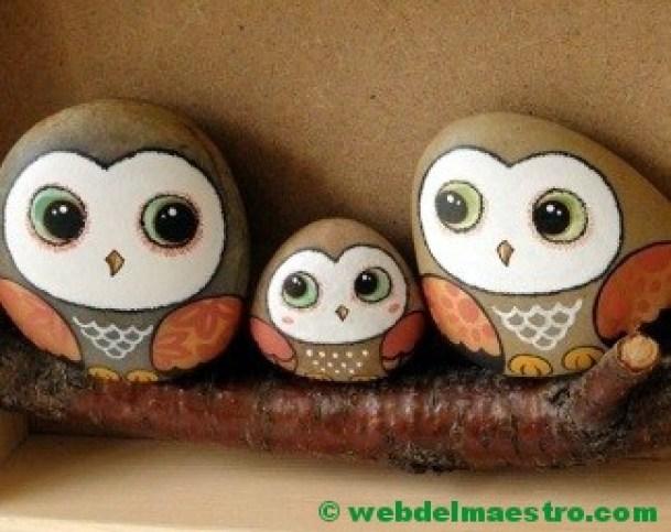 Piedras decoración-buhos-3