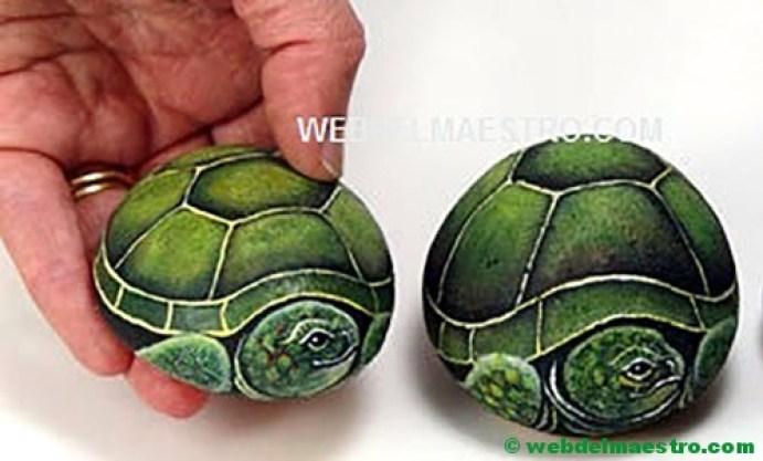 Piedras pintadas a mano-3-tortugas