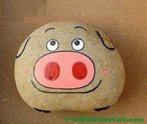 Piedras pintadas para niños-cerdito