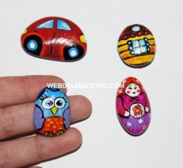 Piedras pintadas y barnizadas