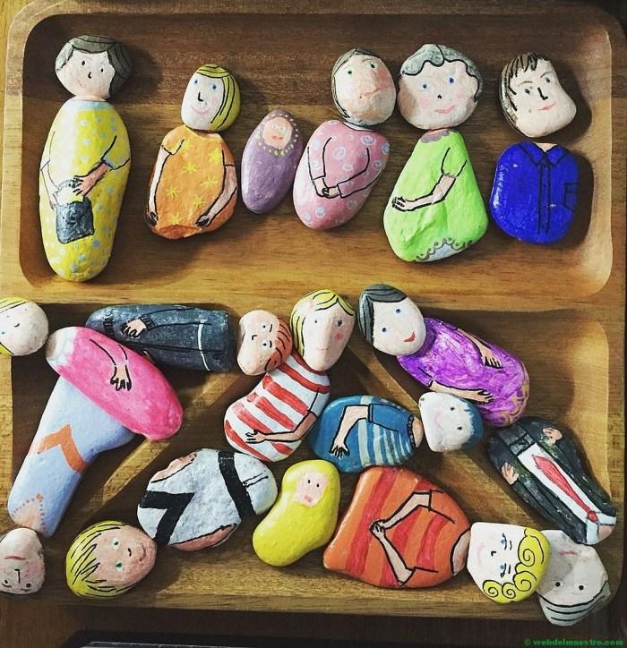 Pintar piedras con niños