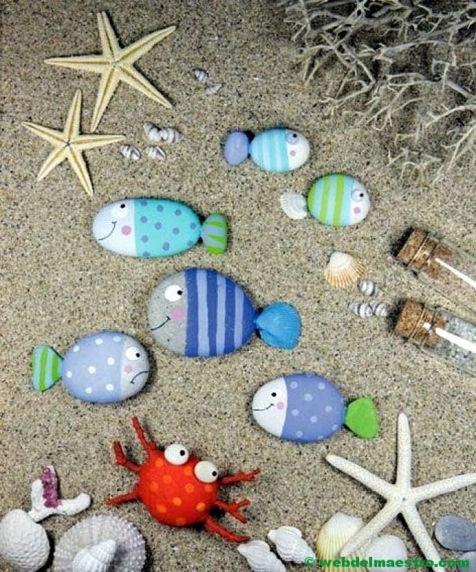 Pintar piedras de playa-3-PECES