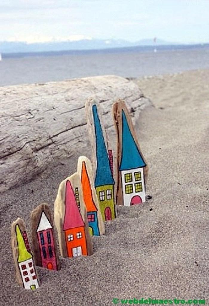 Pintar piedras de playa-CASAS