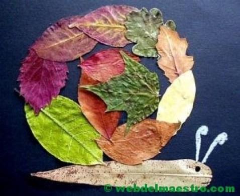 Caracol de hojas de otoño