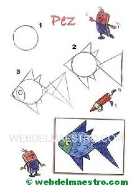 Dibujos fáciles-aprender a dibujar-pez