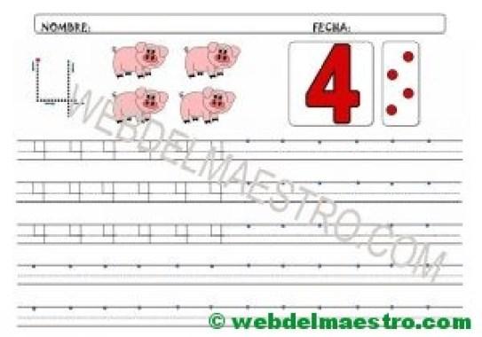 Grafomotricidad del numero 4