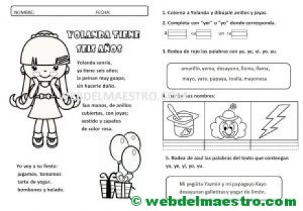 Lecturas infantiles-Letra Y función consonante-actividades