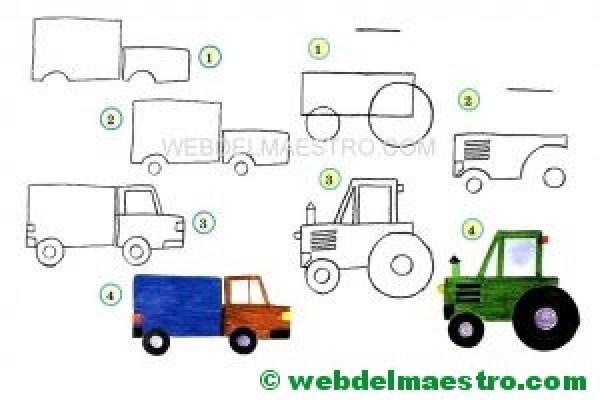 dibujos fáciles de medios de transporte
