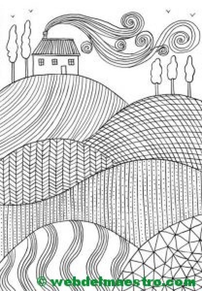 Dibujo antiestrés-paisaje-II