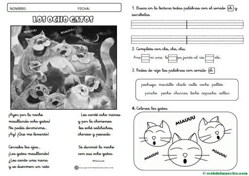 Lecturas infantiles-sonido ch-actividades-cursiva