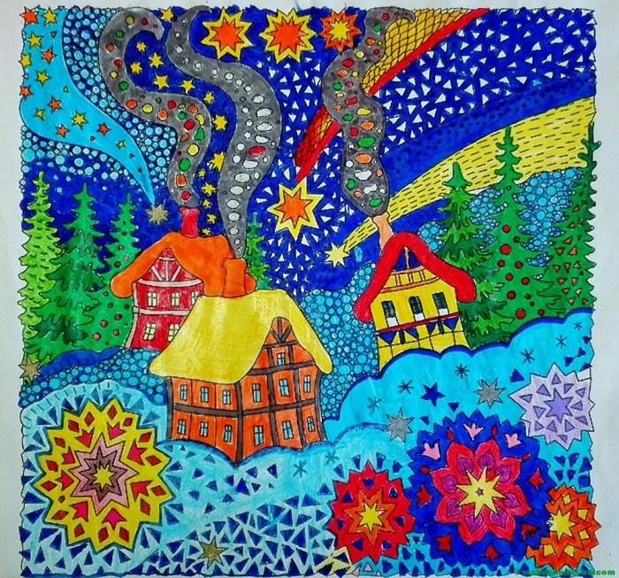 Dibujos de navidad coloreados-paisaje navideño
